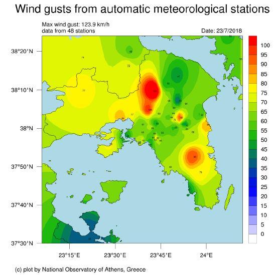 Εθνικό Αστεροσκοπείο: Καταγράφηκαν θυελλώδεις άνεμοι σε Ανατολική Στερεά και Αττική