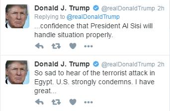 Τραμπ και ΟΗΕ καταδικάζουν τις επιθέσεις στην Αίγυπτο