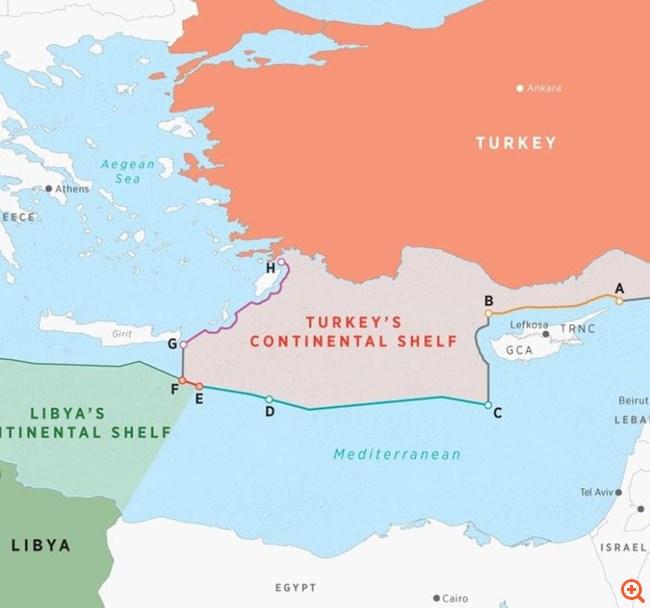 Νέοι χάρτες με τις βλέψεις της Τουρκίας στην Ανατολική Μεσόγειο