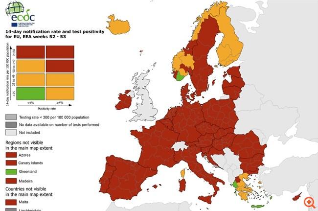 """Κορονοϊός: Στο """"πράσινο"""" Ήπειρος, Κρήτη και μεγάλο μέρος της νησιωτικής Ελλάδας βάσει του χάρτη του ECDC"""