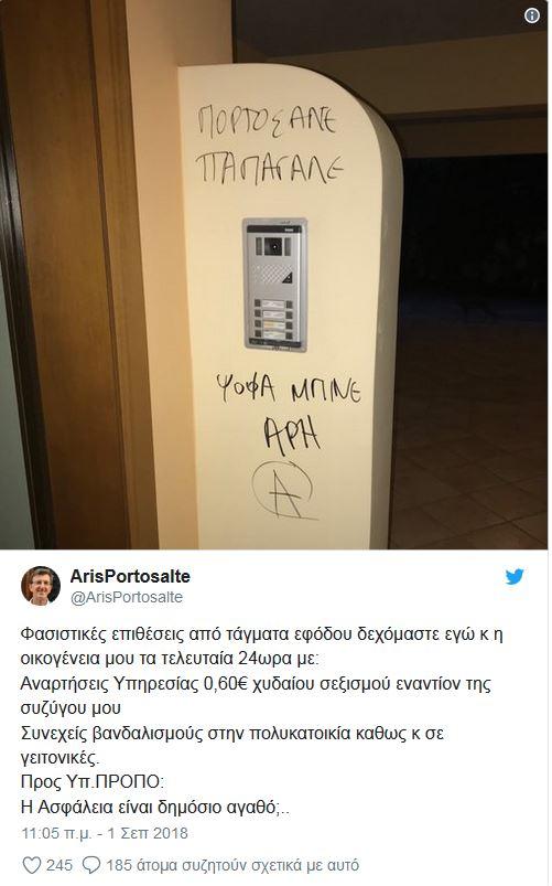 Επίθεση αγνώστων στην οικία του Α. Πορτοσάλτε