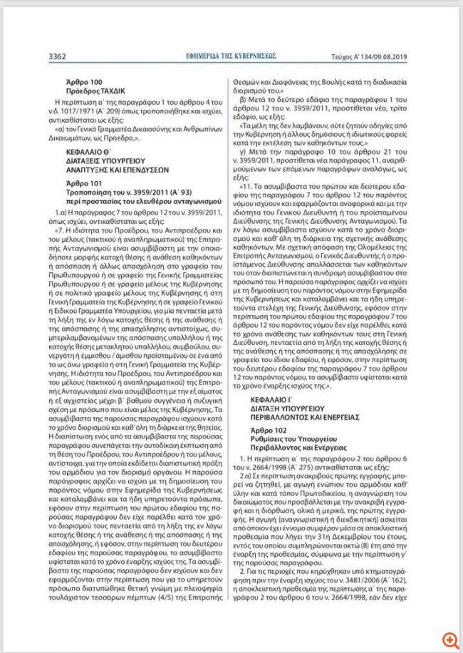 Εκτός Επιτροπής Ανταγωνισμού τίθεται η Βασιλική Θάνου - Δημοσιεύθηκε ο νόμος