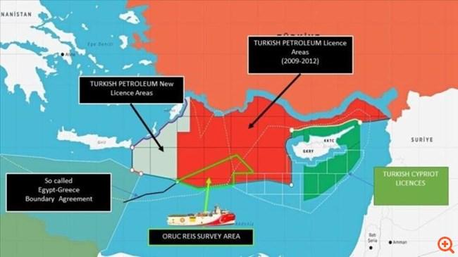 Άνωθεν της ελληνικής υφαλοκρηπίδας παραμένει το Oruc Reis - Με χάρτη η Τουρκία προαναγγέλλει έρευνες δίπλα στην Κάρπαθο