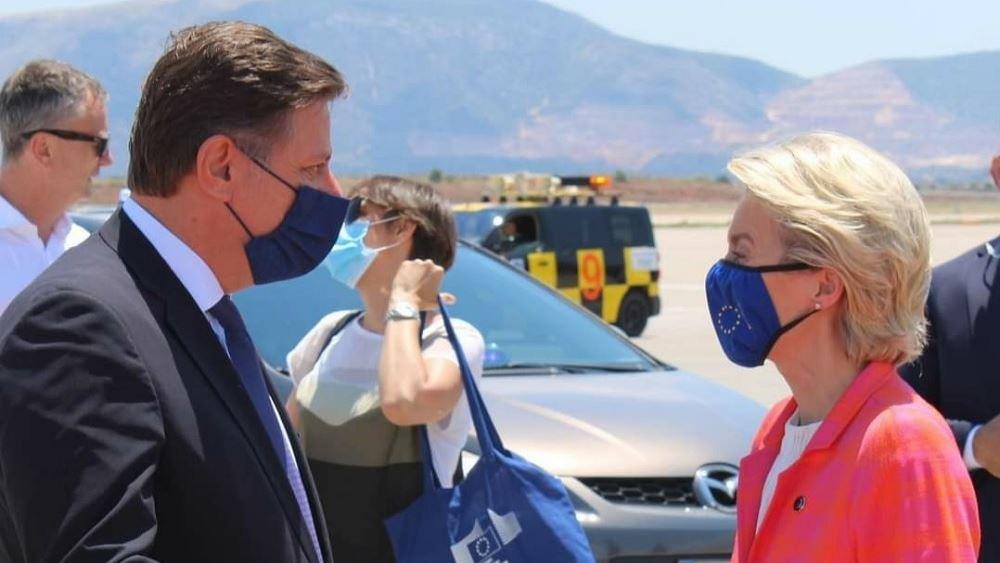 Στο αεροδρόμιο συνόδευσε την πρόεδρο της Ευρωπαϊκής Επιτροπής, ο Μ. Βαρβιτσιώτης