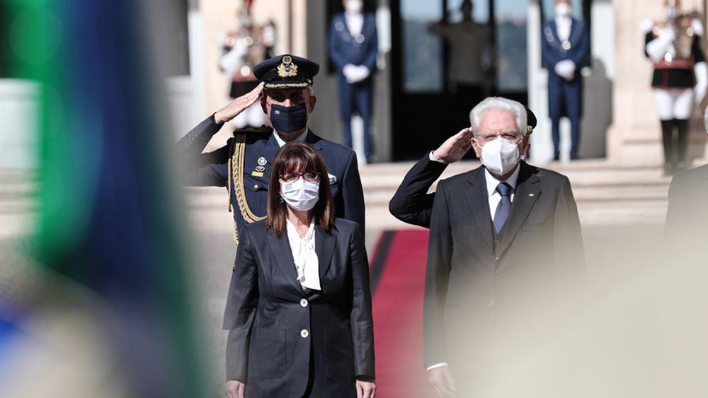 Τι δήλωσε η Πρόεδρος της Δημοκρατίας μετά τις συναντήσεις της με τον πρόεδρο και τον πρωθυπουργό της Ιταλίας