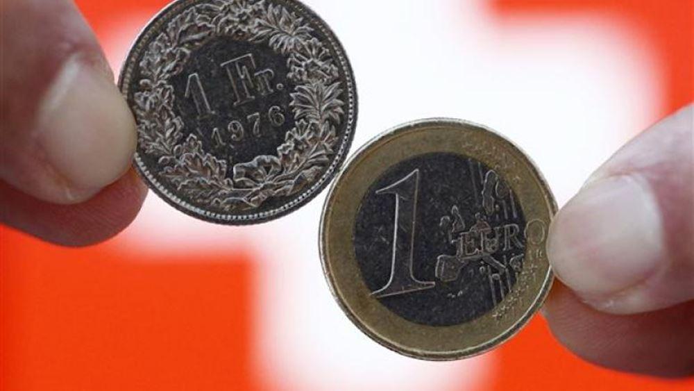 Σε χαμηλό 7 μηνών το ελβετικό φράγκο έναντι του ευρώ
