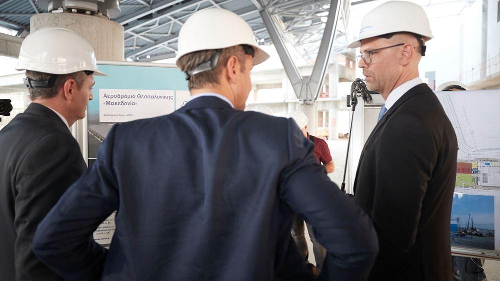 """Τα έργα αναβάθμισης του αεροδρομίου """"Μακεδονία"""" επισκέφθηκε ο Κ. Μητσοτάκης"""