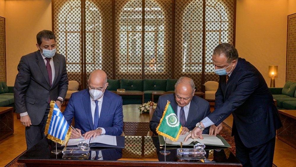 Μνημόνιο συνεργασίας υπέγραψε στο Κάιρο ο  Ν. Δένδιας με τον ΓΓ του Αραβικού Συνδέσμου