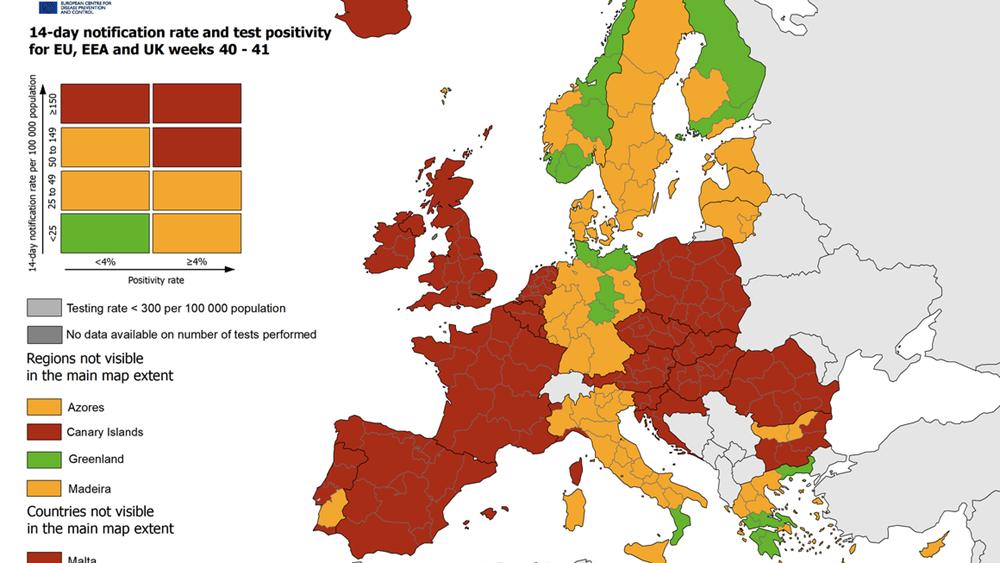 """ΕΟΔΥ: Στο """"πράσινο"""" η Ελλάδα σε σχέση με την υπόλοιπη Ευρώπη"""