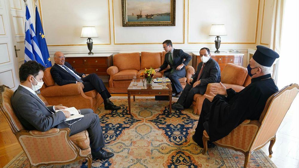 Συνάντηση Ν. Δένδια με τον μητροπολίτη Γαλλίας και τον γενικό γραμματέα του KAICIID