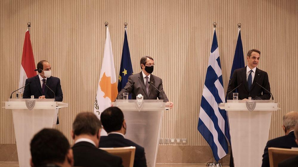Καταδίκασε τις παράνομες ενέργειες της Τουρκίας η τριμερής Κύπρου-Ελλάδας-Αιγύπτου