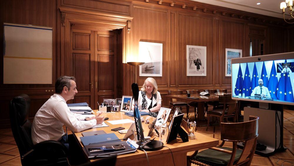 Ευρωτουρκικές σχέσεις και Ταμείο Ανάκαμψης στην τηλεδιάσκεψη Μητσοτάκη-Μισέλ
