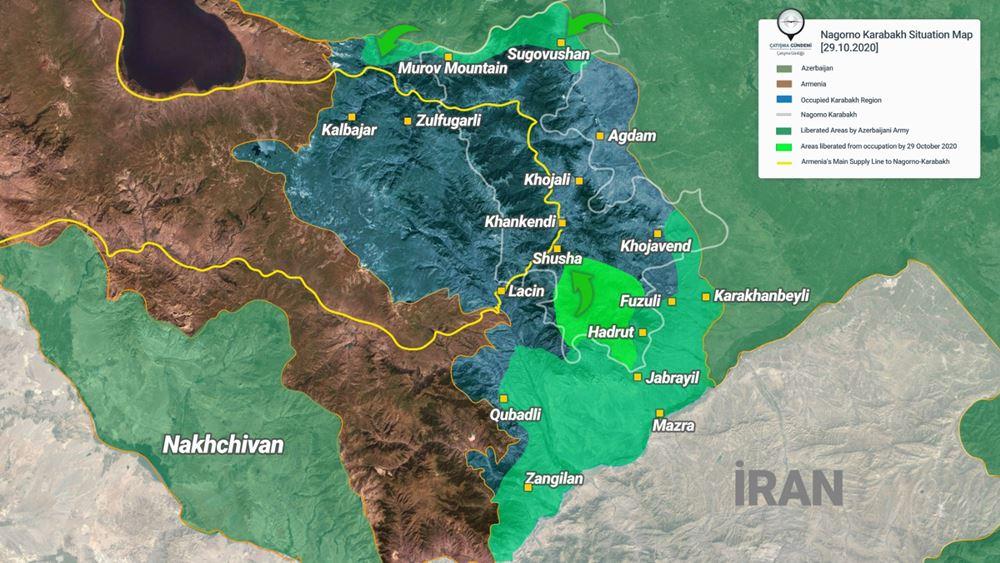 """Πρόεδρος του Ναγκόρνο Καραμπάχ: Οι αζερικές δυνάμεις απέχουν """"το πολύ"""" 5 χλμ. από την πόλη Σούσα"""
