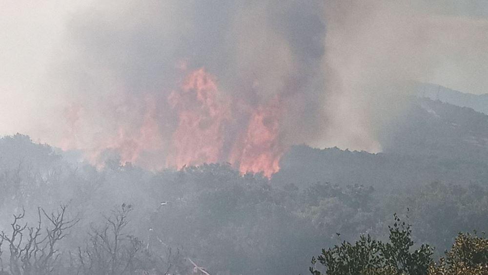 Ανεξέλεγκτη πυρκαγιά στον Θεολόγο: Καίγεται πευκοδάσος