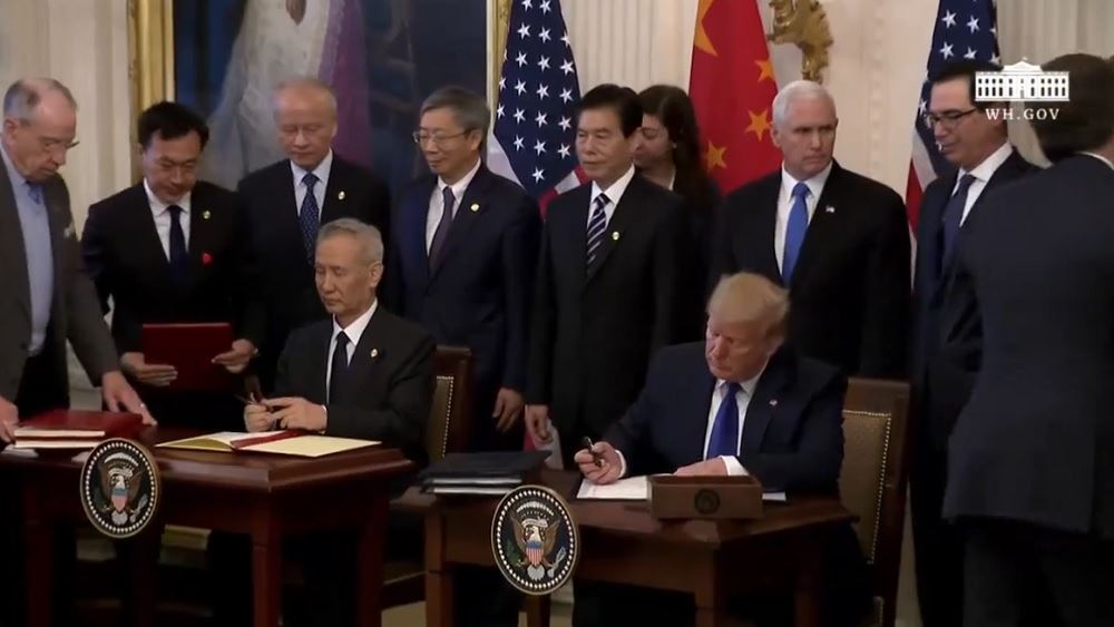 """Υπεγράφη η """"πρώτη φάση"""" της εμπορικής συμφωνίας ΗΠΑ - Κίνας"""