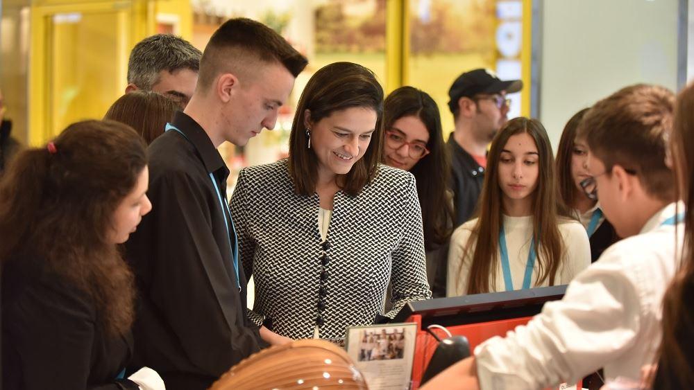 Η υπουργός Παιδείας Ν. Κεραμέως στην εκδήλωση του Junior Achievement Greece