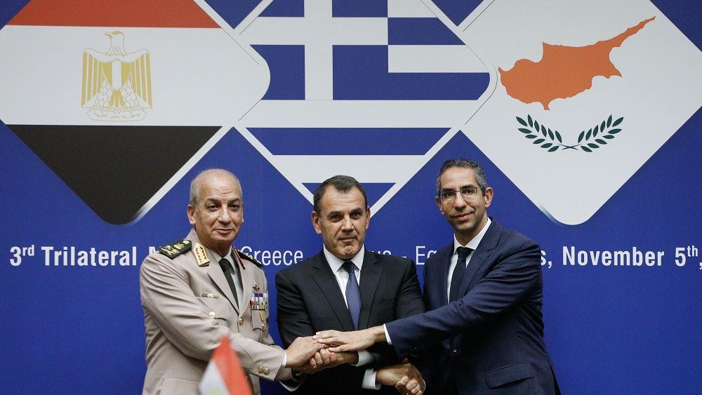Ελλάδα-Κύπρος-Αίγυπτος καταδικάζουν τις παράνομες ενέργειες της Τουρκίας σε Κύπρο και Αιγαίο