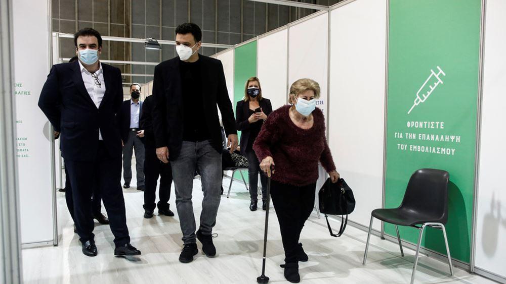 Επίσκεψη Β. Κικίλια και Κ. Πιερρακάκη στο Mega εμβολιαστικό κέντρο του Ελληνικού