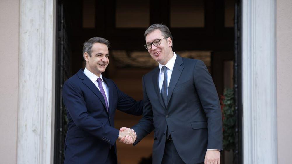 """Συνάντηση Κ. Μητσοτάκη - Αλ. Βούτσιτς: """"Κοινό το όραμα για μια Ευρώπη ασφάλειας, ειρήνης και ευημερίας"""""""