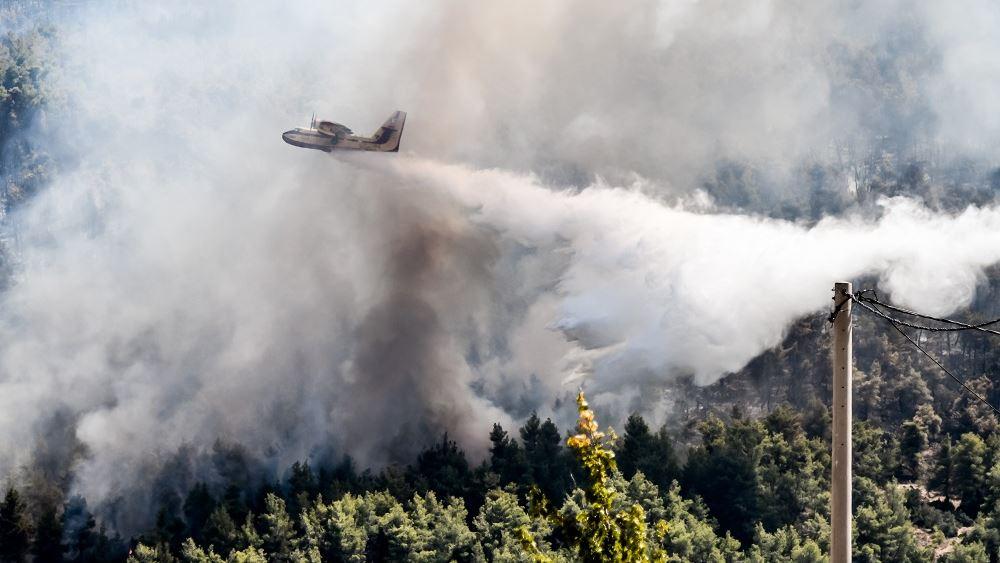 Μάχη στα Βίλια για να μην περάσει στον οικισμό η φωτιά - Σε ύφεση αλλά με αναζωπυρώσεις η πυρκαγιά στη Λαυρεωτική