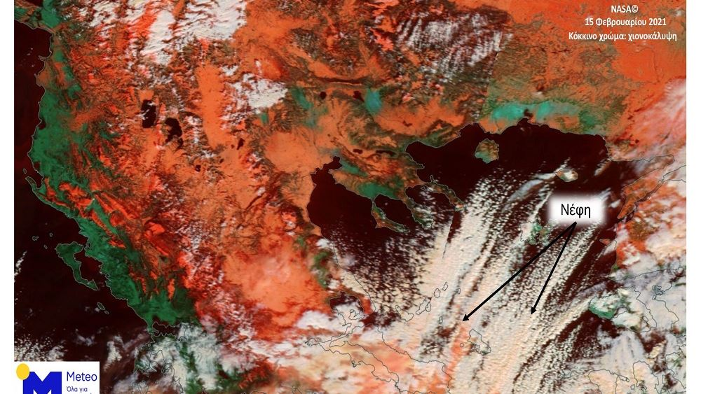 Η χιονισμένη Ελλάδα όπως φαίνεται από τον δορυφόρο Terra της NASA