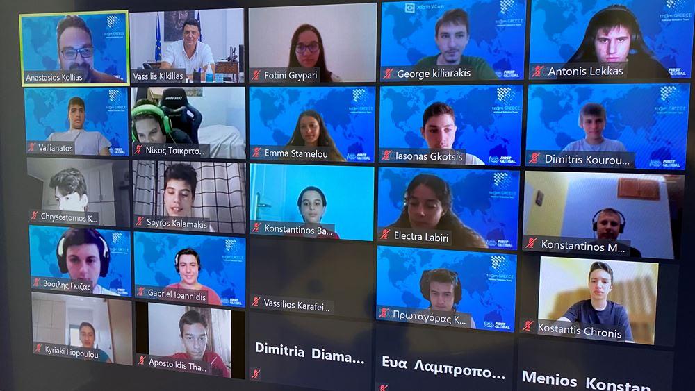Τηλεδιάσκεψη Β. Κικίλια με την Ελληνική Εθνική Ομάδας Ρομποτικής