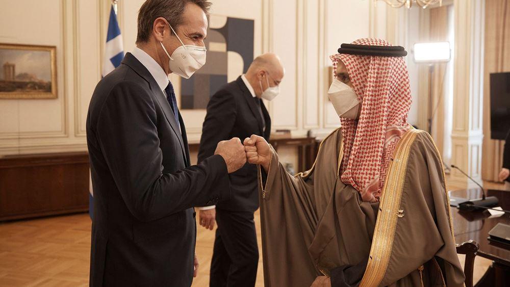 Με τον υπ. Εξωτερικών της Σ. Αραβίας συναντήθηκε ο Κ. Μητσοτάκης
