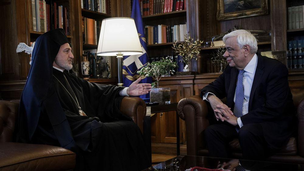Συνάντηση ΠτΔ Πρ. Παυλόπουλου με τον αρχιεπίσκοπο Αμερικής Ελπιδοφόρο