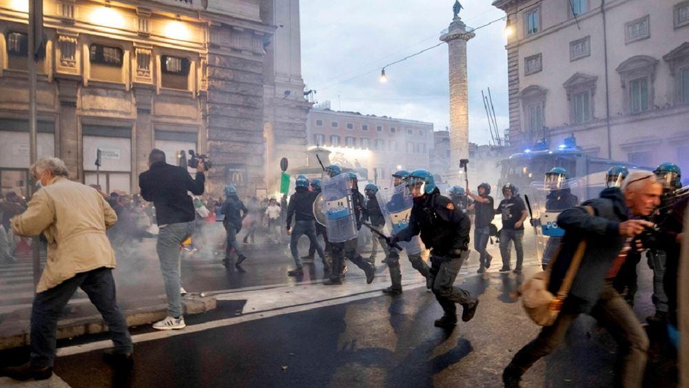 Ιταλία: Ένταση αντιεμβολιαστών- αστυνομίας στην κεντρική Πλατεία του Λαού της Ρώμης