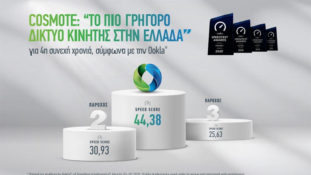 "COSMOTE: ""Tο πιο γρήγορο δίκτυο κινητής στην Ελλάδα"" για 4η συνεχή χρονιά, σύμφωνα με την Ookla"