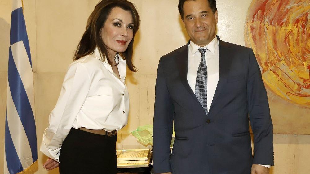"""Συνάντηση Γεωργιάδη με την πρόεδρο της Επιτροπής """"Ελλάδα 2021"""" Γ. Αγγελοπούλου"""