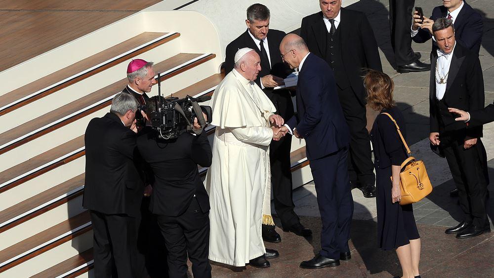 Συνάντηση Δένδια με τον Πάπα Φραγκίσκο