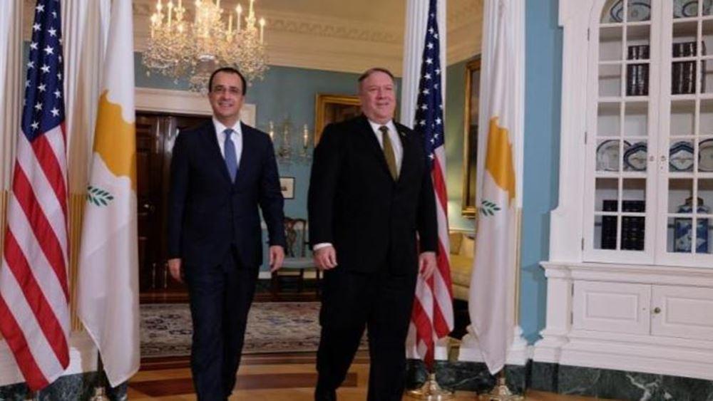 Στον Πομπέο ο Χριστοδουλίδης για την ενέργεια, το Κυπριακό και την προκλητική Τουρκία