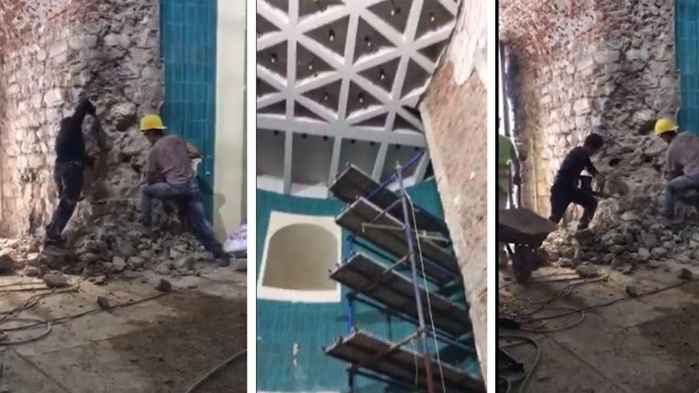 Εργολάβοι του Ερντογάν ανακαινίζουν τον Πύργο του Γαλατά... γκρεμίζοντάς τον!
