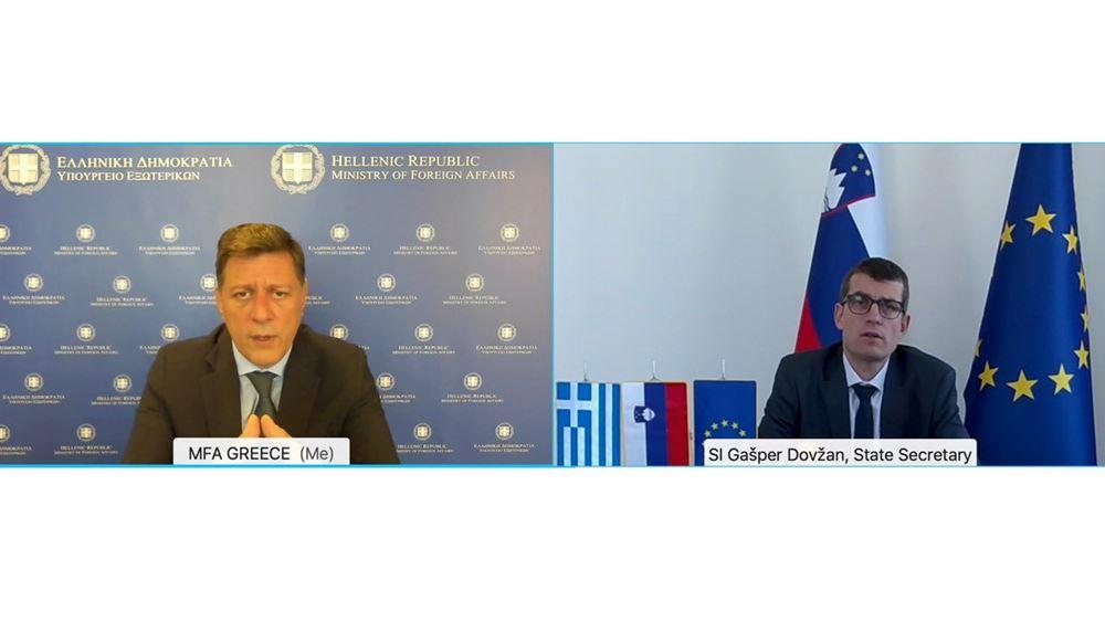 Μ.Βαρβιτσιώτης σε Σλοβένο ΥφΥΠΕΞ: Η Ελλάδα στηρίζει την ευρωπαϊκη προοπτική των Δυτ. Βαλκανίων