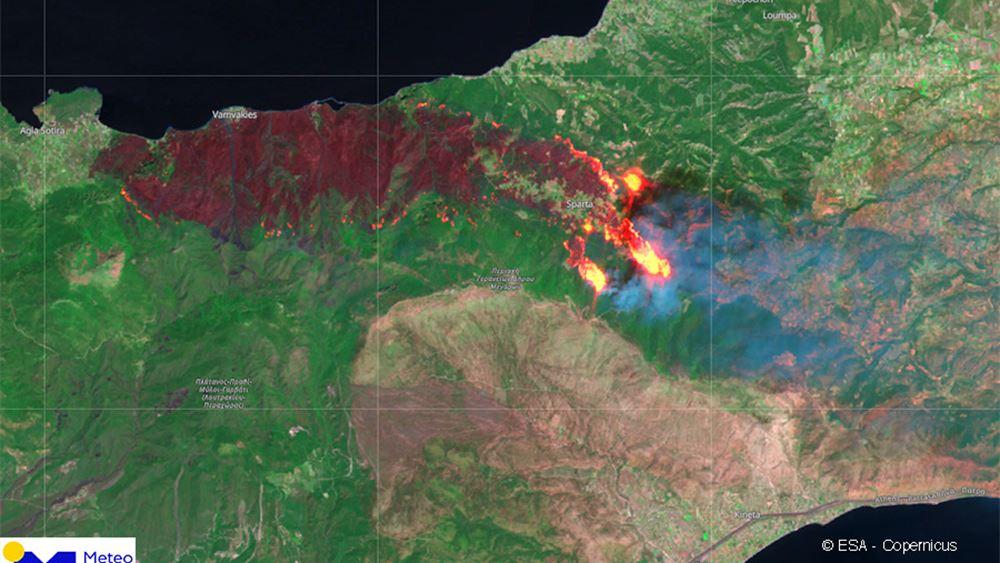 Ο δορυφόρος Sentinel-2 φωτογράφισε τη μεγάλη πυρκαγιά στην Κορινθία