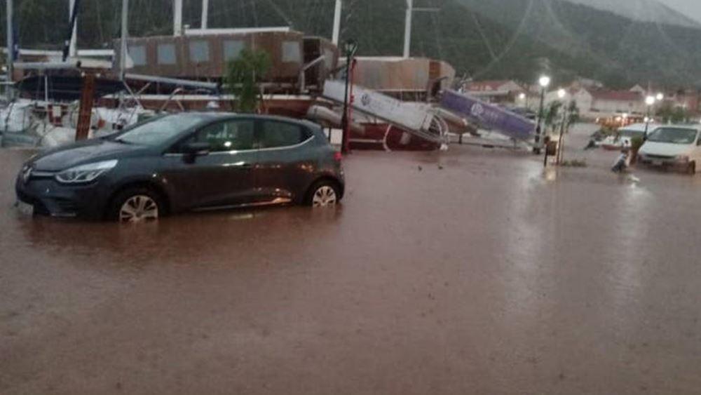 Έντονη βροχόπτωση στη Χαλκιδική-Δύο απεγκλωβισμοί