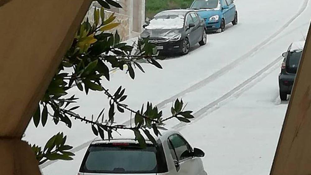 Χιόνισε και στην πόλη του Ρεθύμνου