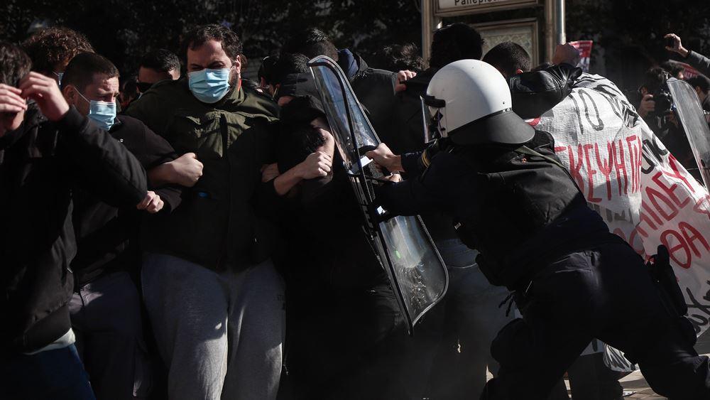 Ένταση στο φοιτητικό συλλαλητήριο στο κέντρο της Αθήνας