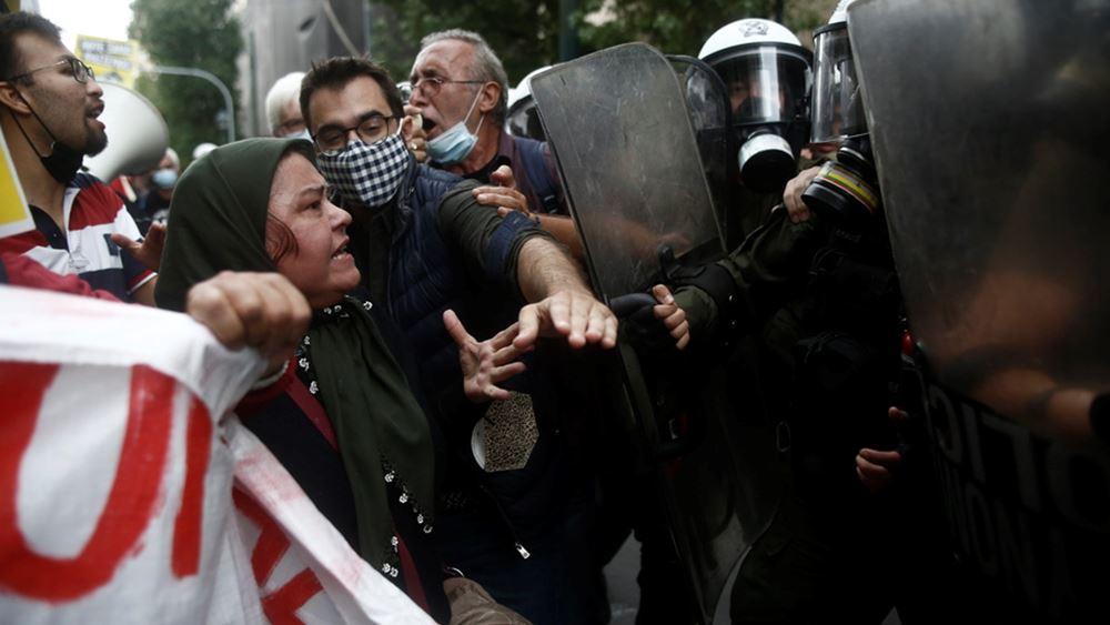 Ένταση στην Ομόνοια κατά τη διάρκεια της αντιφασιστικής πορείας
