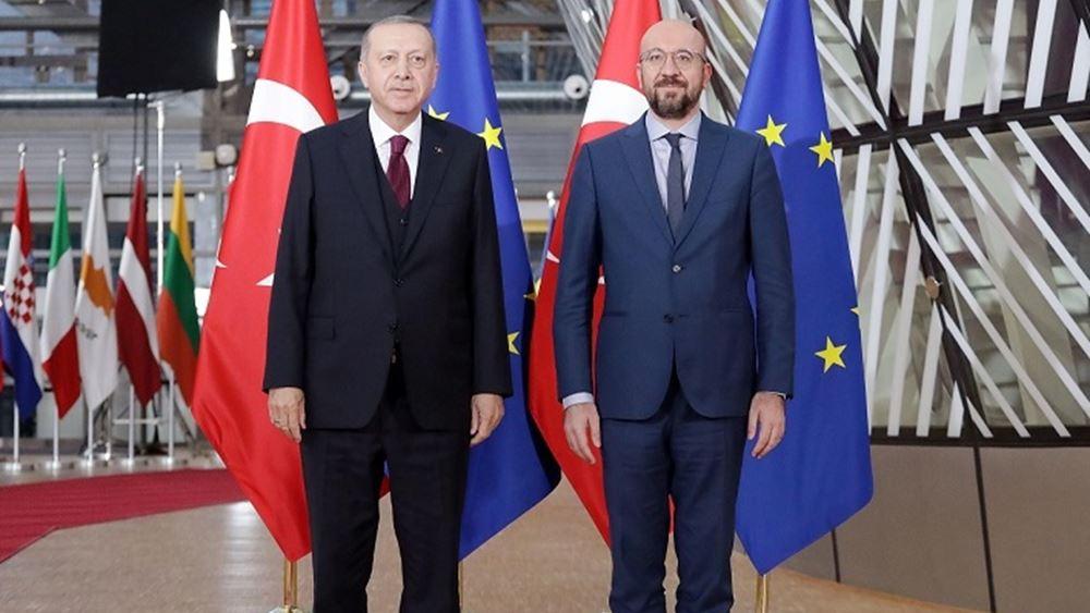"""Ερντογάν: """"Ελλάδα και Ελληνοκύπριοι καταφεύγουν σε επιθετικότητα και προκλήσεις"""" - Τηλεδιάσκεψη με Μισέλ-φον Ντερ Λάιεν"""