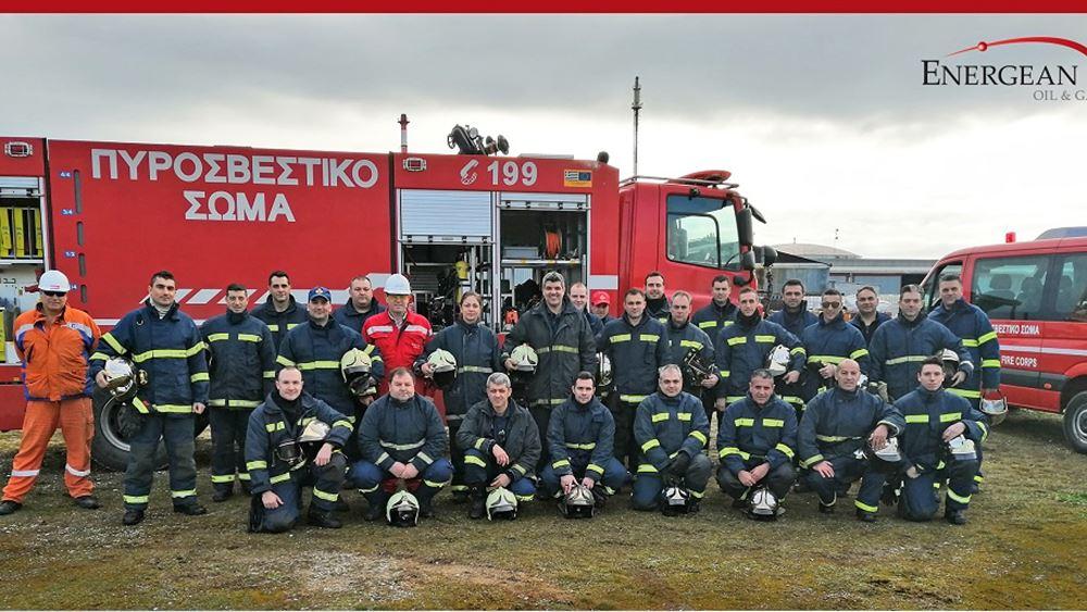 Άσκηση εκπαίδευσης της Πυροσβεστικής στις εγκαταστάσεις της Energean στην Καβάλα