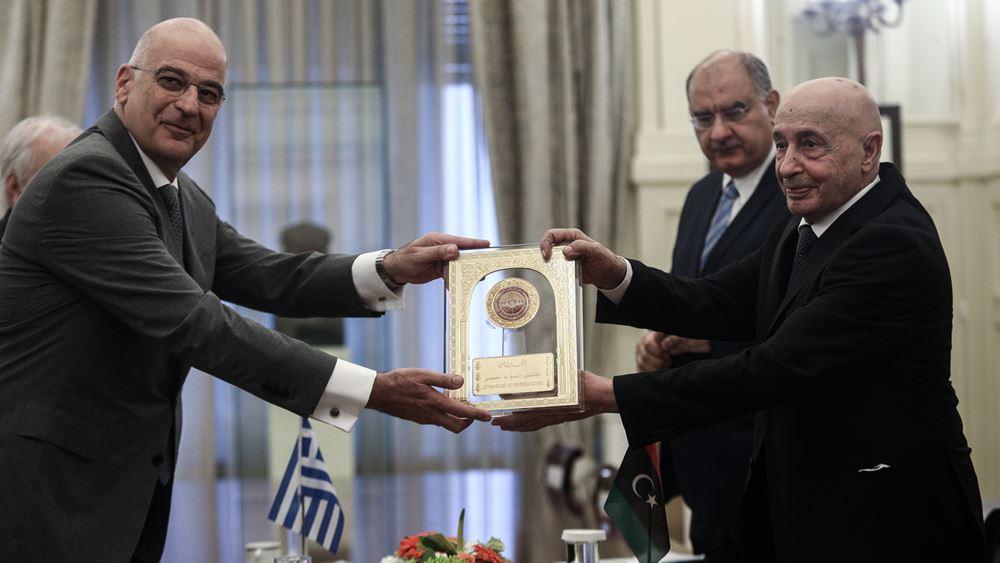 Συνάντηση Ν. Δένδια με τον Αγκίλα Σάλεχ: Άκυρα τα τουρκο-λιβυκά μνημόνια