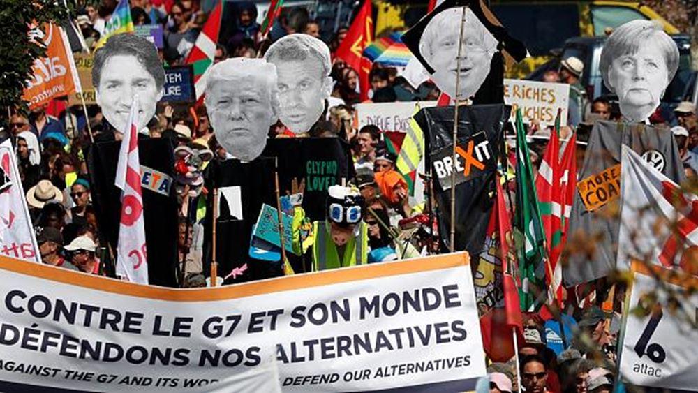 Χιλιάδες διαδηλωτές κατά της G7 συγκεντρώθηκαν κοντά στο Μπιαρίτς