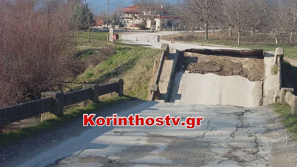Κατέρρευσε γέφυρα στον Φενεό της ορεινής Κορινθίας