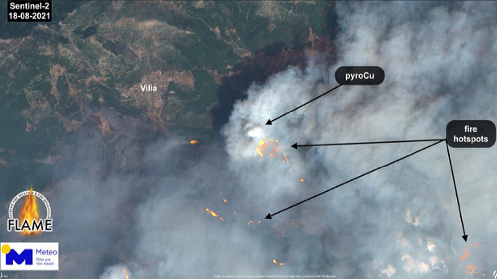 """Meteo.gr: Η """"έκρηξη"""" της δασικής πυρκαγιάς στα Βίλια Αττικής"""