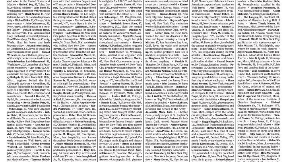 ΗΠΑ: Οι New York Times αφιερώνουν την πρώτη σελίδα τους στους νεκρούς του κορονοϊού