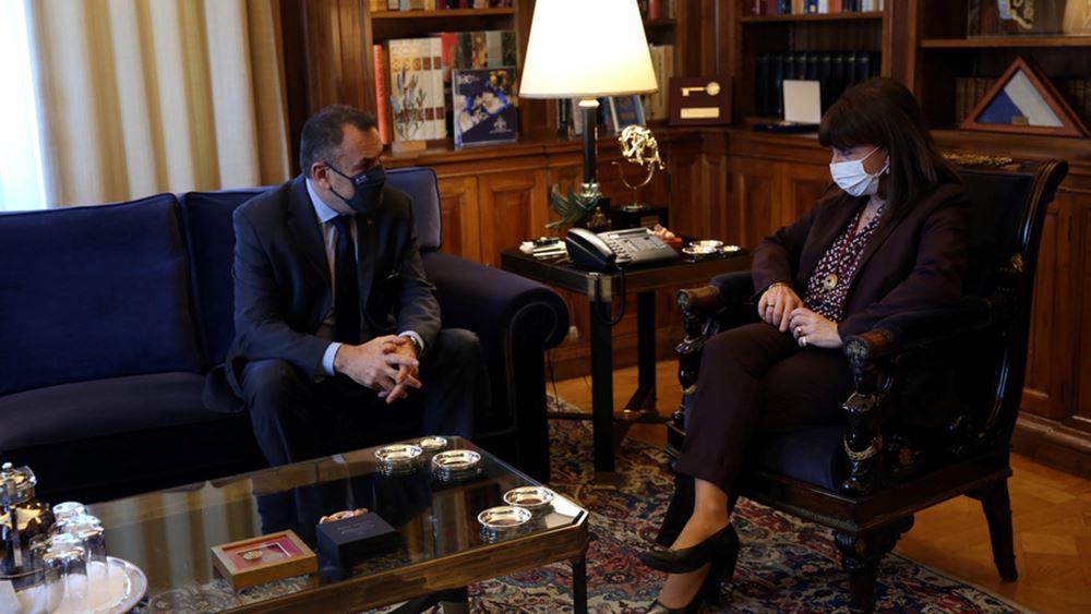 Τον υπουργό Εθν. Άμυνας Ν. Παναγιωτόπουλο δέχθηκε η Πρόεδρος της Δημοκρατίας στο προεδρικό μέγαρο