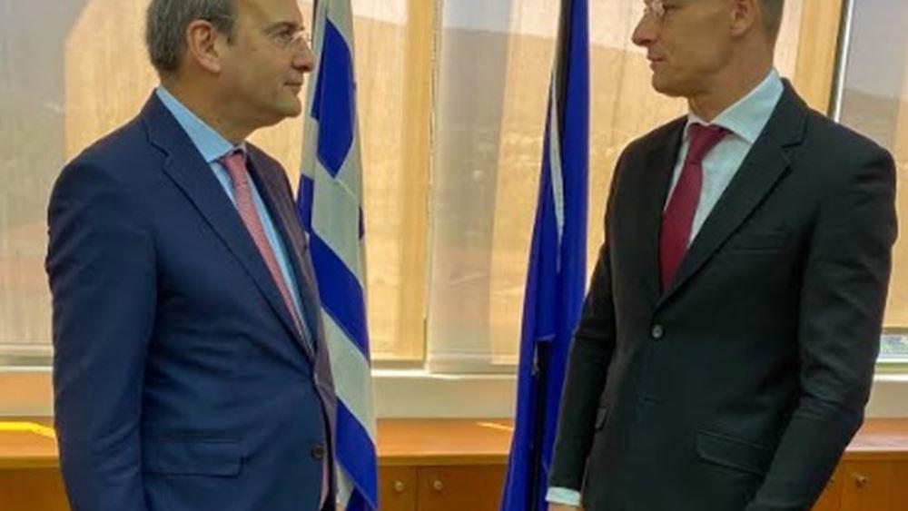Με τον Υπουργό Εξωτερικών και Εμπορίου της Ουγγαρίας συναντήθηκε ο υπουργός Περιβάλλοντος και Ενέργειας Κωστής Χατζηδάκης