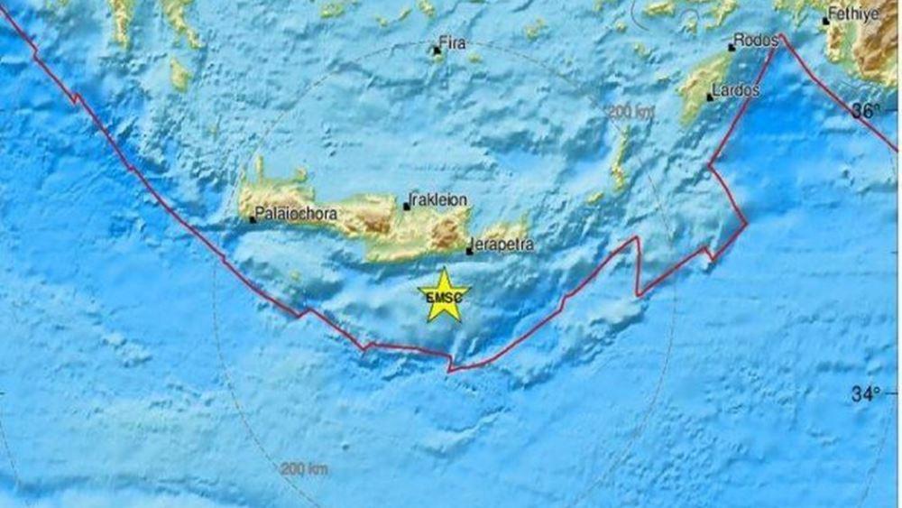 Κρήτη: Δόνηση 4.5 βαθμών Ρίχτερ 50 Χλμ. νοτίως της Άρβης
